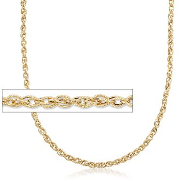 18kt Yellow Gold Textured Rope-Link Necklace, , default