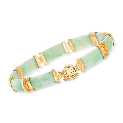 Green Jade Bar Bracelet in 18kt Gold Over Sterling
