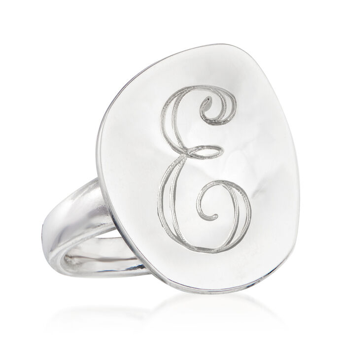 Italian Sterling Silver Single-Initial Concave Disc Ring