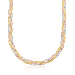 Italian Tri-Colored Sterling Silver Reversible Braid Necklace, , default
