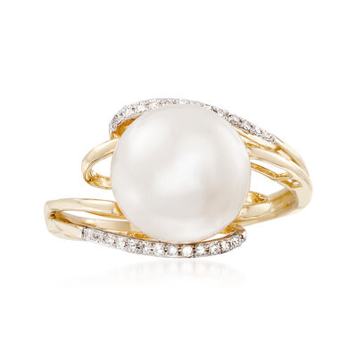 10-10.5mm Cultured Pearl Bypass Ring with Diamond Accents in 14kt Yellow Gold, , default