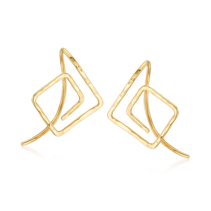 14kt Yellow Gold Endless Square Wire Earrings