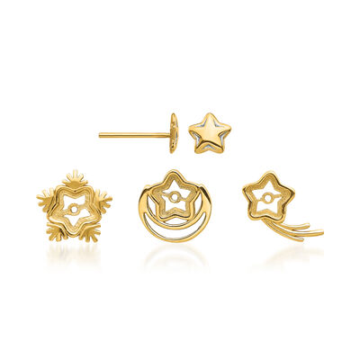 14kt Yellow Gold Jewelry Set: One Pair of Star Studs with Three Sets of Celestial Earring Jackets