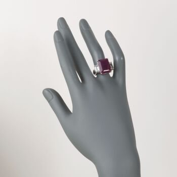 12.00 Carat Ruby and 1.60 ct. t.w. White Topaz Ring in Sterling Silver, , default