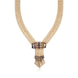 "C. 1970 Vintage Cultured Pearl and .45 ct. t.w. Sapphire Tassel Necklace in 14kt Yellow Gold. 15"", , default"