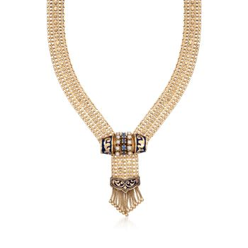 """C. 1970 Vintage Cultured Pearl and .45 ct. t.w. Sapphire Tassel Necklace in 14kt Yellow Gold. 15"""", , default"""
