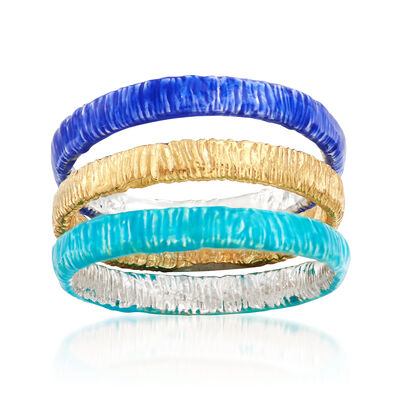 Italian Tri-Colored Sterling Silver Jewelry Set: Three Textured Bands, , default