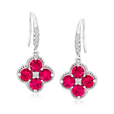 2.80 ct. t.w. Simulated Ruby and .10 ct. t.w. CZ Drop Earrings in Sterling Silver