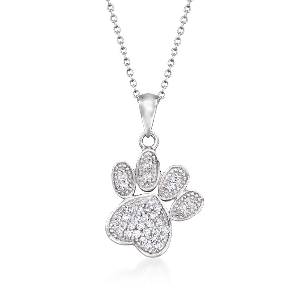 60 ct tw pave cz paw print pendant necklace in sterling silver tw pave cz paw print pendant necklace in sterling silver 18quot aloadofball Images