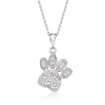 """.60 ct. t.w. Pave CZ Paw Print Pendant Necklace in Sterling Silver. 18"""", , default"""