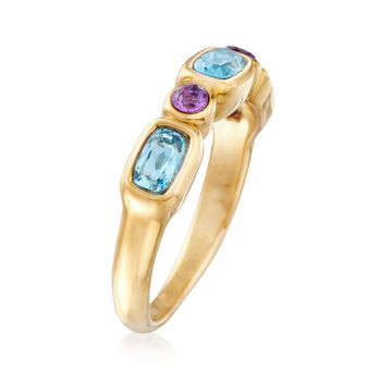 .80 ct. t.w. Blue Topaz and .10 ct. t.w. Amethyst Ring in 14kt Yellow Gold, , default