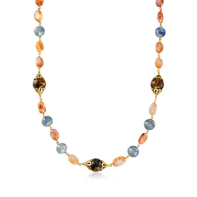 9-12mm Multi-Gemstone Necklace in 18kt Gold Over Sterling, , default