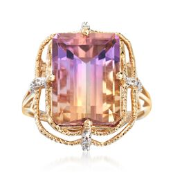 6.00 Carat Ametrine Ring With Diamond Accents in 14kt Yellow Gold, , default