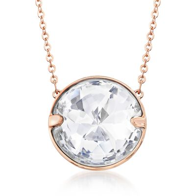 "Swarovski Crystal ""Globe"" Crystal Solitaire Necklace in Rose Gold Plate, , default"