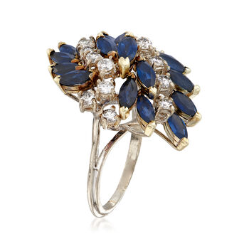 C. 1960 Vintage 3.00 ct. t.w. Sapphire and .85 ct. t.w. Diamond Cluster Ring in 14kt White Gold. Size 7, , default