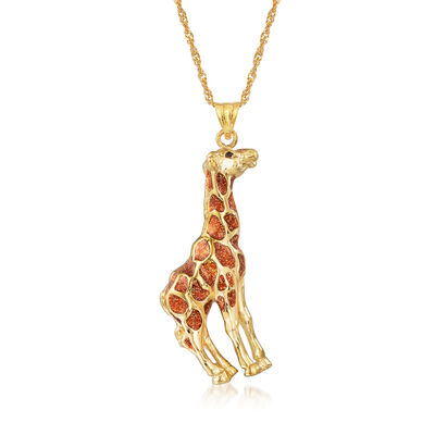 Italian 18kt Gold Over Sterling Giraffe Pendant Necklace with Black and Caramel Enamel