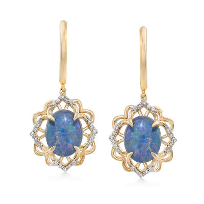 Blue Opal and .18 ct. t.w. Diamond Drop Earrings in 14kt Yellow Gold, , default