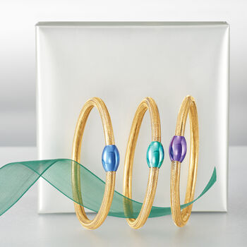 "Italian 14kt Yellow Gold Mesh Tube and Purple Bead Center Bangle Bracelet. 7"", , default"