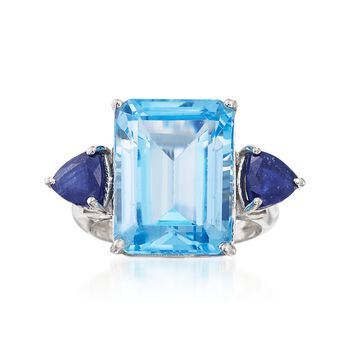 Sapphire and 15.00 Carat Emerald-Cut Blue Topaz Ring in Sterling Silver, , default