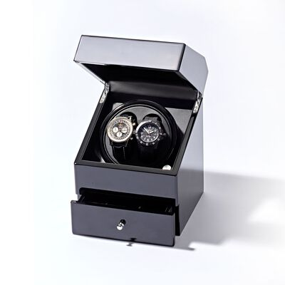 Black Double Watch Winder with Storage, , default