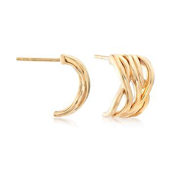 """14kt Yellow Gold Wavy Half-Hoop Earrings. 1/2"""", , default"""
