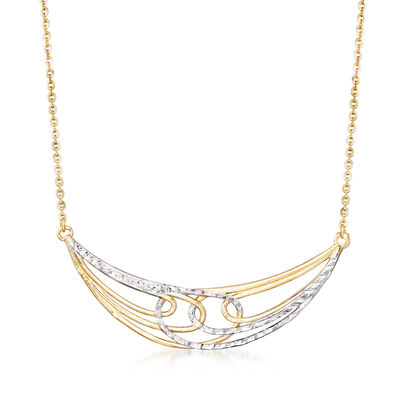 Italian Multi-Loop Crescent Necklace in 14kt Two-Tone Gold, , default