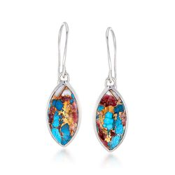 Marquise Kingman Turquoise Drop Earrings in Sterling Silver , , default
