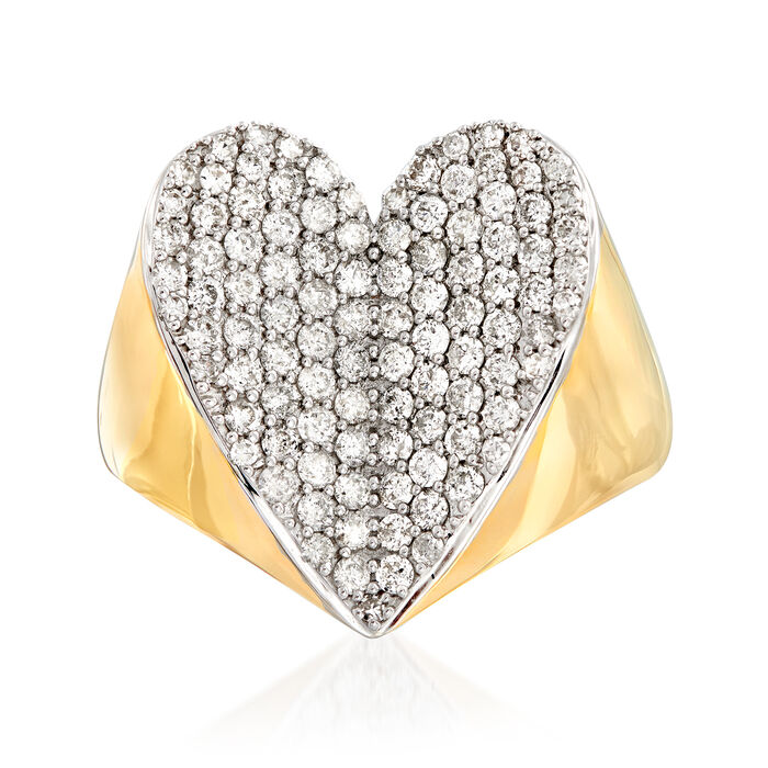 1.00 ct. t.w. Diamond Heart Ring in 14kt Yellow Gold, , default