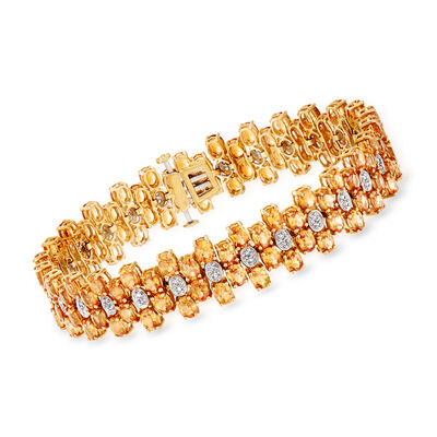 C. 1980 Vintage 20.15 ct. t.w. Spessartine Garnet and .30 ct. t.w. Diamond Bracelet in 14kt Yellow Gold, , default