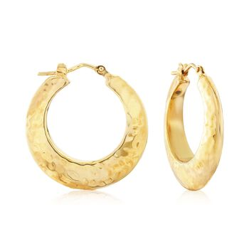 "Italian 18kt Yellow Gold Hammered Hoop Earrings. 1""., , default"