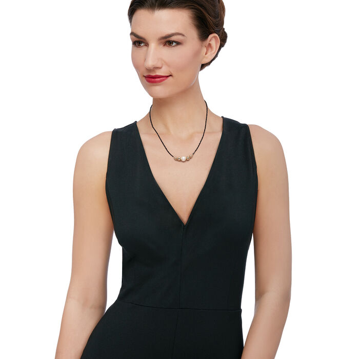 """9.5-10mm Cultured Pearl and 18.00 ct. t.w. Black Spinel Bead Necklace in 14kt Yellow Gold. 18"""", , default"""