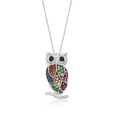 1.20 ct. t.w. Multi-Stone and Black Spinel Owl Pin Pendant Necklace with Diamonds in Sterling Silver, , default