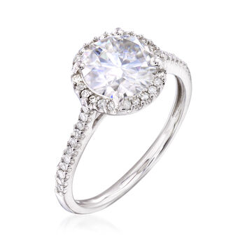 1.90 Carat Synthetic Moissanite Solitaire and .23 ct. t.w. Diamond Engagement Ring in 14kt White Gold, , default