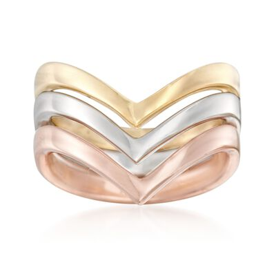 Italian Tri-Colored Sterling Silver Jewelry Set: Three Chevron Rings, , default