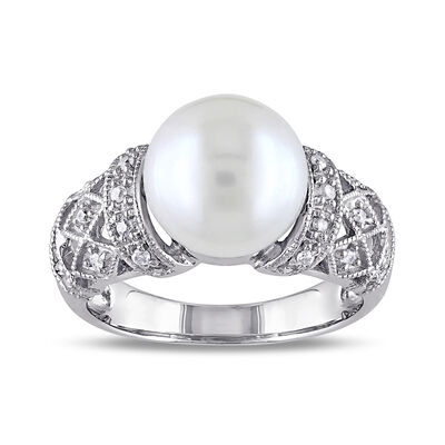 9-9.5mm Cultured Pearl Ring with Diamond Accents in Sterling Silver, , default