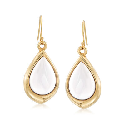 11x15mm White Agate Teardrop Earrings in 14kt Yellow Gold, , default