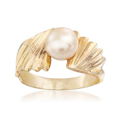 C. 1980 Vintage 7mm Cultured Pearl Ring in 14kt Yellow Gold, , default