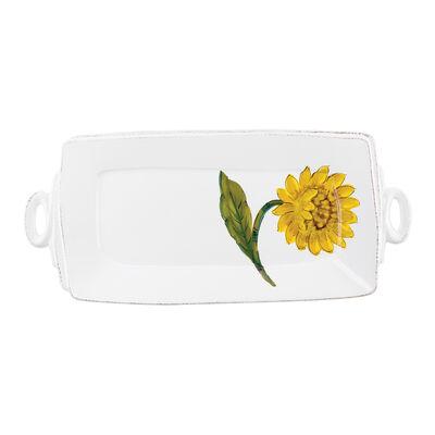 "Vietri ""Lastra"" Sunflower Handled Rectangular Platter from Italy"