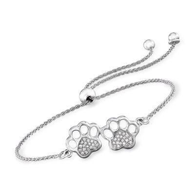 .15 ct. t.w. Diamond Paw Print Bolo Bracelet in Sterling Silver, , default