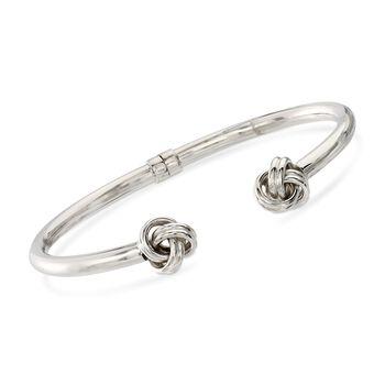 "Sterling Silver Love Knot Open-Front Cuff Bracelet. 7.5"", , default"