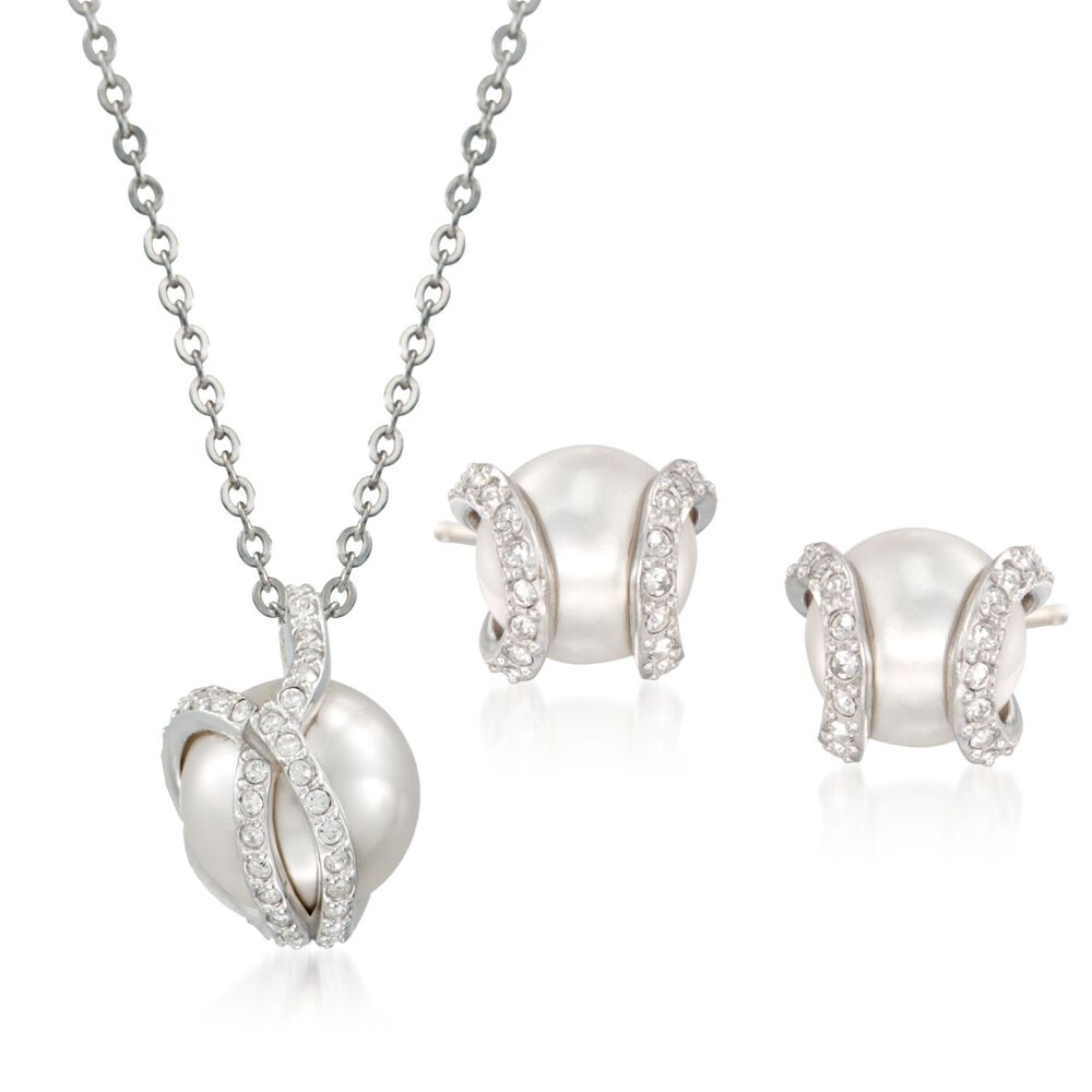 """d81b5cae3a6 Swarovski Crystal """"Nude"""" 8-10mm Simulated Pearl and Crystal  Jewelry Set:"""