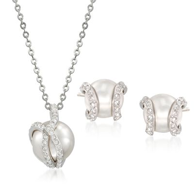 "Swarovski Crystal ""Nude"" 8-10mm Simulated Pearl and Crystal Jewelry Set: Earrings and Necklace in Silvertone, , default"