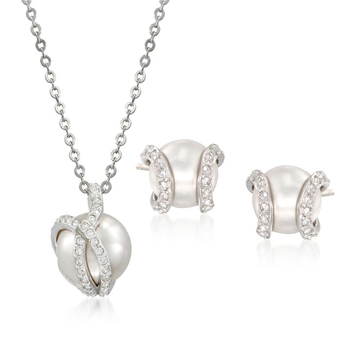 """Swarovski Crystal """"Nude"""" 8-10mm Simulated Pearl and Crystal Jewelry Set: Earrings and Necklace in Silvertone. 14.7"""", , default"""