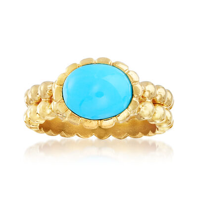Italian Turquoise Double-Row Beaded Ring in 18kt Gold Over Sterling, , default