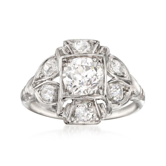C. 1980 Vintage 1.50 ct. t.w. Diamond Ring in Platinum. Size 5.5, , default