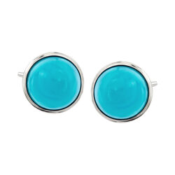 Sleeping Beauty Turquoise Stud Earrings in Sterling Silver, , default