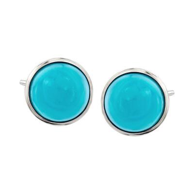 Sleeping Beauty Turquoise Stud Earrings in Sterling Silver , , default