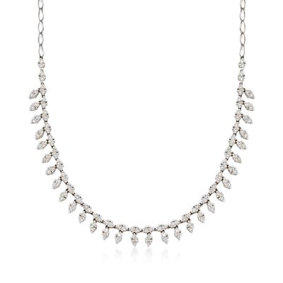 C. 1990 Vintage 4.50 ct. t.w. Diamond Leaf Drop Choker Necklace in 18kt White Gold, , default