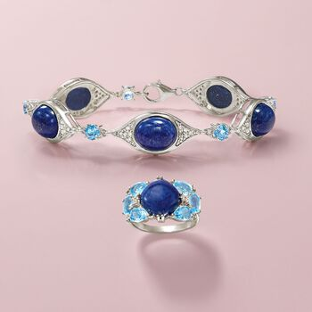"Lapis and 1.50 ct. t.w. Blue Topaz Station Bracelet with .55 ct. t.w. Diamonds in Sterling. 8.5"", , default"