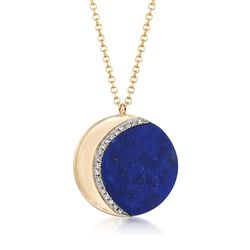 "Lapis Crescent Moon Necklace With Diamond Accents in 14kt Yellow Gold. 16"", , default"